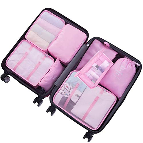 8 Piece Packing Cubes - WantGor 6 Suitcase Organiser Luggage Compression Pouches + 1 Shoes Bag + 1 Toiletry Bag (2#Pink)