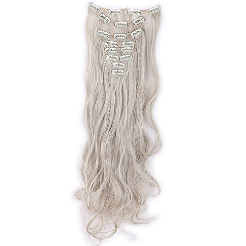Haarteil Clip in Extensions wie Echthaar Honigblond/Grau 8 Tresssen günstig komplette Haarverlängerung Gewellt 24