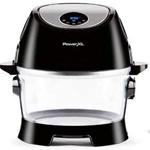 PowerXL Turbo Air Fryer, XL Large Capacity with Glass Bowl, LED Digital Touchscreen; Rotisserie, Air Fry, Roast, Broil, Bake, Dehydrate, Recipe Book, 10-Quart, Black