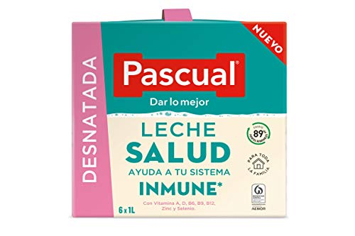 Pascual - Leche Desnatada Salud Bienestar Animal, 6 x 1L