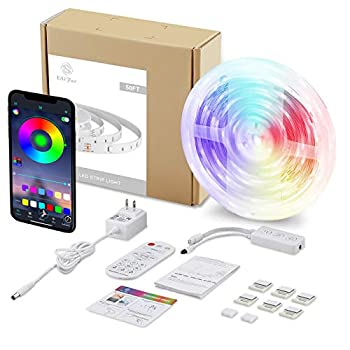 S USIFAR LED Strip Lights 50ft Color Changing RGB LED Lights Music Sync App Control Flexible LED Light Strips Kit with Remote for Bedroom Kitchen Room Ceiling Home Decoration