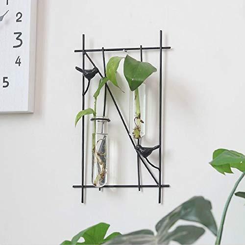 SDHF Oiseau Fer Forgé Verre hydroponique Décoration murale suspendus sans plantes (Couleur : Square Style)