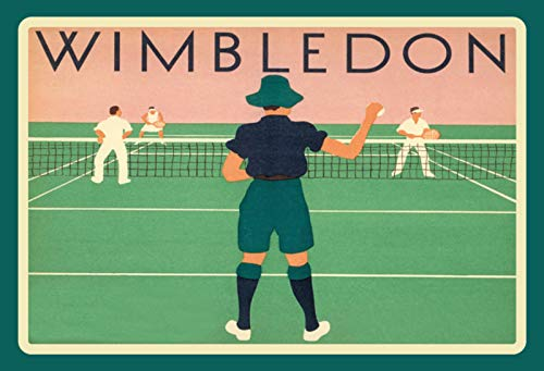 FS Wimbledon Tennis Sport Targa in Metallo bombato 20 x 30 cm
