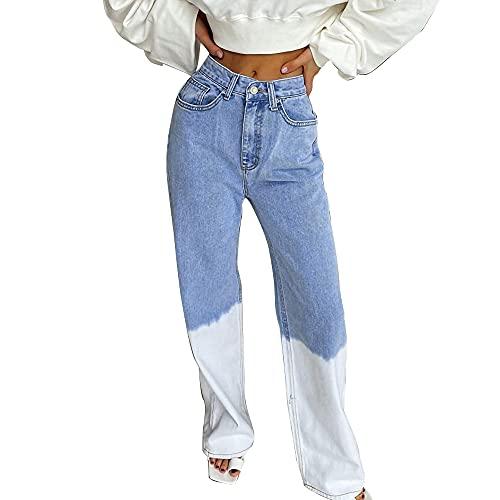 Hongsuny Patchwork Jeans Women High Waist Wide Leg Casual Loose Baggy Trousers Pants Denim Y2k Straight Jeans Baggy Pants Streetwear