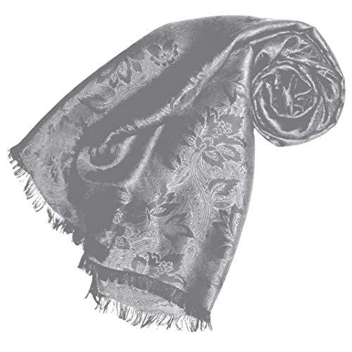 Lorenzo Cana Luxus Damen Schal Luxustuch elegant gewebt in Damast - Webung florales Paisley Muster aus Viskose mit Seide 55 x 190 cm