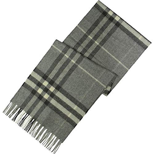 Burberry Womens Giant Classic Check Cashmere Fringe Rectangle Scarf Gray O/S