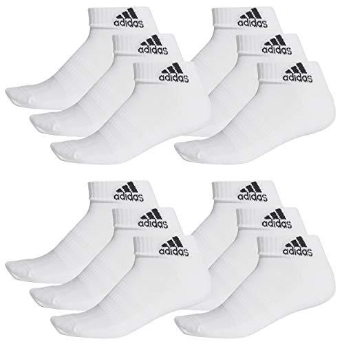 adidas 12 Paar Performance Sneaker/Quarter Socken Unisex Kurzsocke, Farbe:White, Socken und Strümpfe:46-48