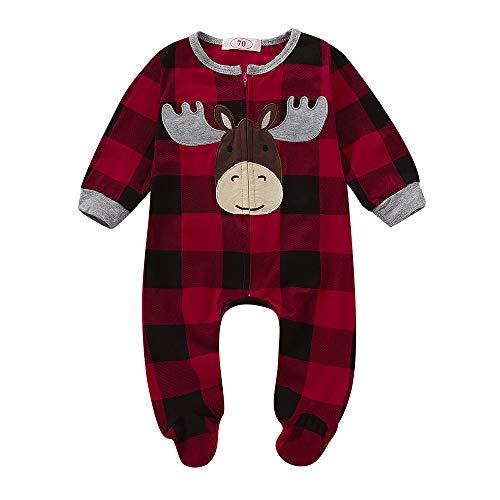 Jimmackey Neonato Natale Plaid Pagliaccetto, Bambina Manica Lunga Cervi Applique Piedini Tutine Body, da 6 A 24 Mesi Bebè