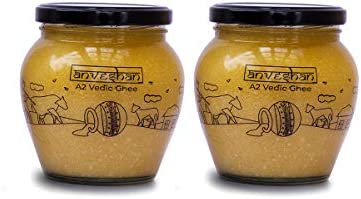 Anveshan Empowering farmers with technology A2 Vedic Bilona Cow Ghee Glass Jar, 2x 500 Ml (Combo of 2 Jars)