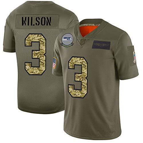 Rugby Jersey 3# Seattle Seahawks Russell Wilson, American Football Trikots für Herren, Besticktes, schnell trocknendes Kurzarm-Sport-T-Shirt-ArmyGreen-L