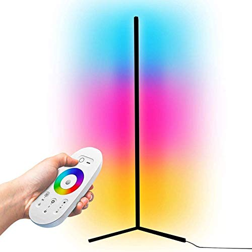 JAKROO Intelligent RGB Floor Lamp, LED Dimmable Corner Floor Lamp, Minimalist Corner Floor Lamp, Colour Changing Atmosphere Light - 55 Zoll,Weiß