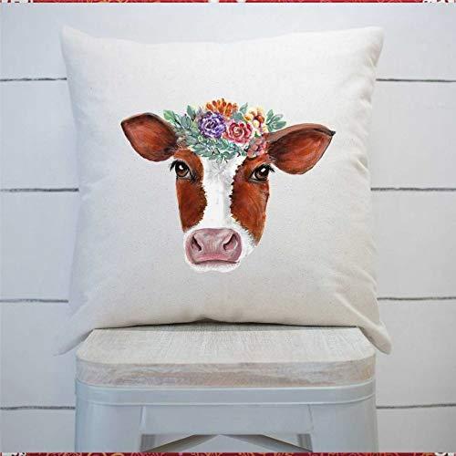 43LenaJon Funda de almohada para casa de campo, almohada de vaca con flores, funda de cojín cuadrada para el hogar, coche, sofá, dormitorio, decoración de 40 x 40 cm, regalo de inauguración de la casa