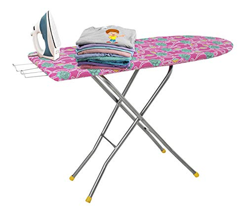 Flipzon Self Standing 18' Folding Premium Ironing Board with Iron Stand - (Color May Vary, Multi-Color) - (Make in India)