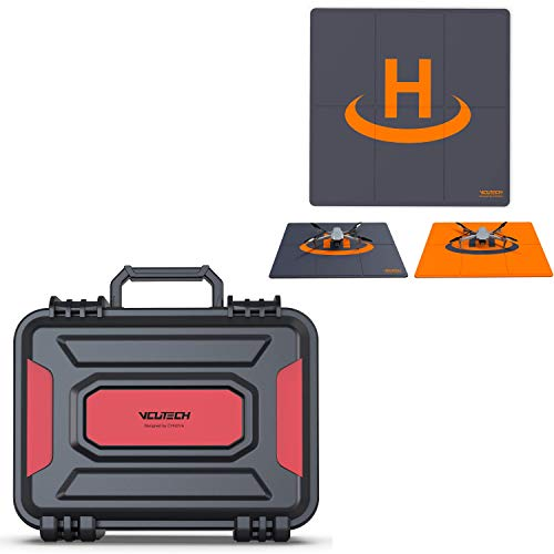 VCUTECH Drone Landing Pad with Mavic Air 2 Hardcase Compatible with DJI Mavic Air 2 Drone/Fly More Combo & Drone Accessories