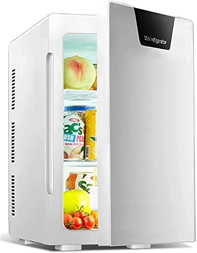 YQDSY Refrigerador Pequeño, Mini Refrigerador de Mini Refrigerador, Mini Nevera Led, Latas de Bebidas Más Calentador Más Frío, 12V / 240V Entrada Dual, Carrera Termoeléctrica Silenc