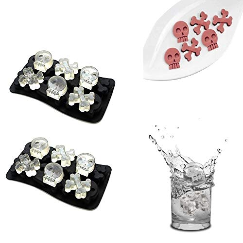 VIWIEU 3D Skull and Crossbones Small Silicone Molds for Candy Chocolate Cake Baking for Halloween, 2 PCS Pirate Party Ice Cube Trays for Whisky Cocktail, DIY Bath bomb Dog treat Soap Candle Molds