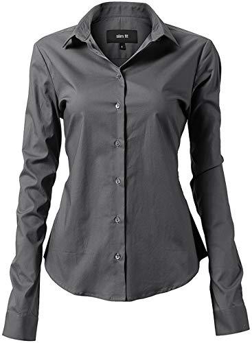 INFLATION Damen Hemd mit Knöpfen Baumwolle Bluse Langarmshirt Figurbetonte Hemdbluse Business Oberteil Arbeithemden Grau 38/12