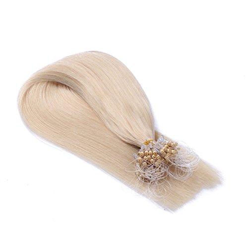 Micro-Ring / Loop Hair Extensions (#60 - WEISSBLOND - 50 cm - 150 Strähnen - 1g) 100% Remy Echthaar Haarverlängerung Micro Ring Remy Qualität, ganz leicht einzusetzen - by Haar-Profi