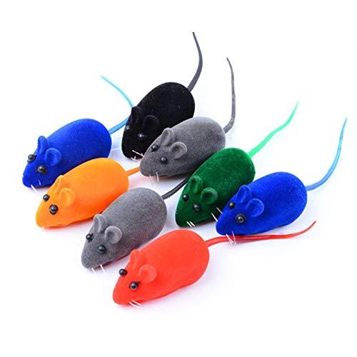 litong Katzenspielzeug, lustiges Uhrwerk, Plüsch-Maus, Gummi, Katzenspielzeug, Geräusch, Beflockung, Rattenform, realistisches Spielzeug, zufällige Farbe (Farbe: 1 Stück)
