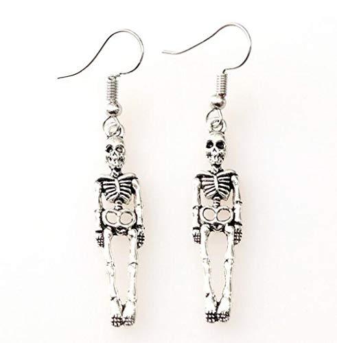 EPRHY Pendientes de esqueleto para mujer, diseño de calavera punk, para mujer, para cumpleaños, boda, compromiso, aniversario, joyería