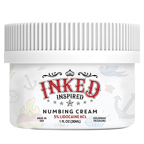 Premium Tattoo Numbing Lidocaine Cream -Inked Inspired - Extra Strength with 5% Lidocaine - Works on Tattoos, Microdermabrasion, Waxing, Derma Rollers and Any Other Painful Skin Procedure (1oz)