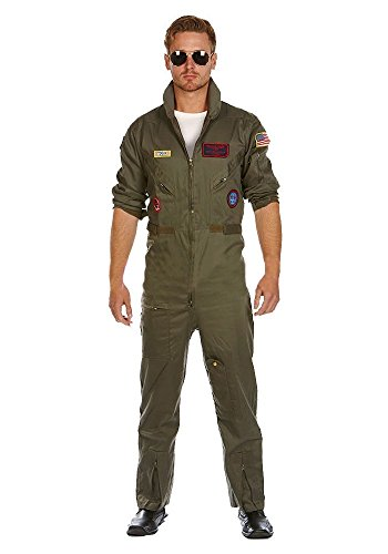 MIMIKRY Deluxe Piloten-Overall Jetpilot Kostüm aus Baumwolle inkl. Brille FÜR Grosse Herren Flieger Pilotenkostüm Kampfpilot, Größe:Lang - XL