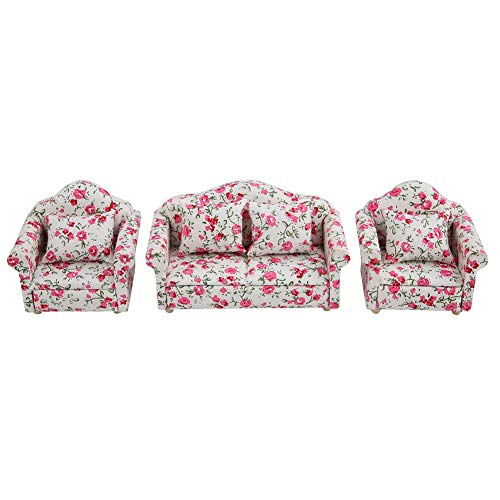 FTVOGUE 1/12 Escala Accesorios de casa de muñecas Patrón de Flores Mini Muebles Sofá Conjunto con Cojines de Espalda(02)