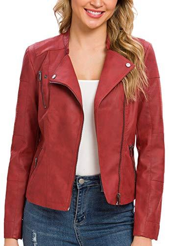 Fahsyee Women's Faux Leather Jacket, Moto Biker Antique-FinishedSlim Vegan MotorcycleZipper Coat Outwear, Rust Red, Size XL