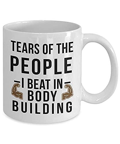 Funny Body Building Mug Tears Of The People I Beat In Body Building - Taza de café (350 ml), color blanco