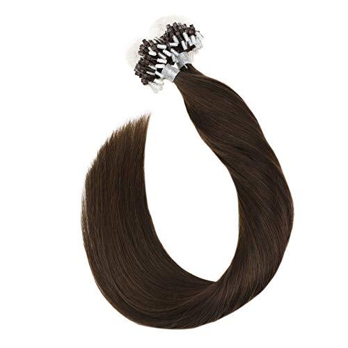 [5% Rabatt für Heißen Sommer] Ugeat 40cm Loop in Extensions Echthaar Individuell 50Stuck 1G/S Remi Brasilianer Micro Ring Links Haarverlangerung Schokoladenbraun #4