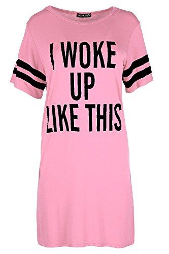 Be Jealous Womens Baggy Kleid Top Damen Flügelärmel I Woke Up Like This Trikot T-Shirt - Babyrosa, 48-50