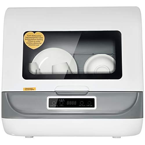 BITOWAT Mini lavavajillas mesa lavavajillas empotrable, lavado y secado en una limpieza a 360° sin obstáculos ciegos, ahorro energético/ahorro de agua (blanco)
