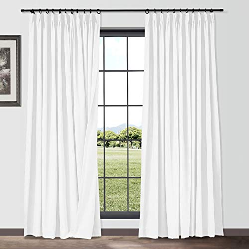 """TWOPAGES 58"""" W x 144"""" L Extra Long Curtains for High Ceiling, Paper White Pinch Pleated Drapes Room Darkening Privacy Protection Linen Cotton Blended Curtains Panels Set of 2"""