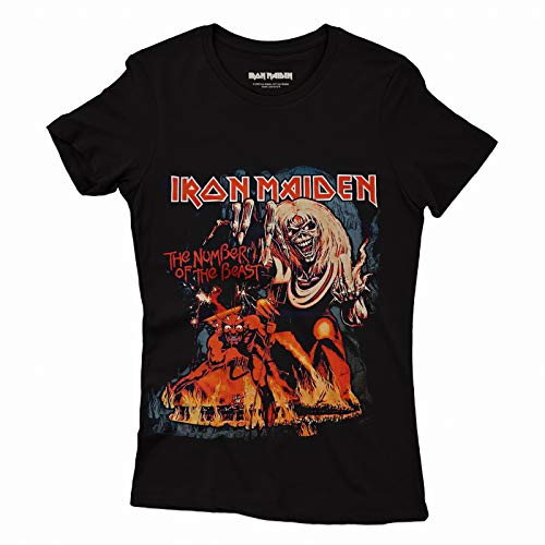Iron Maiden - Number of The Beast T-Shirt Official Licensed Donna, Large, Nero