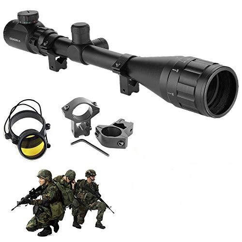 HENGMEI Zielfernrohr Gewehrzielfernrohre mit Montage Rote und grüne Punkt Visier Luftgewehr Rifle Scopefür Jagd und Sport (6-24x50AOEG-11mm Montagen)