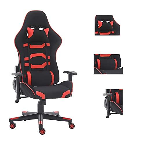 Massagesessel Ergonomischer Spielstuhl Hohe Rückenlehne Bürostuhl Computerstuhl Racing Stil mit Kopfstütze und Lendenwirbelstütze PU/Stretch-Stoff/Camouflage (Rot-617)