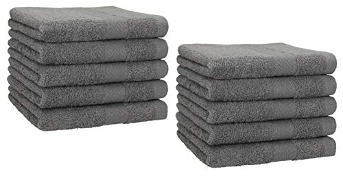 Betz 10 Stück Gästehandtücher Premium 100% Baumwolle Gästetuch-Set 30x50 cm Farbe anthrazit