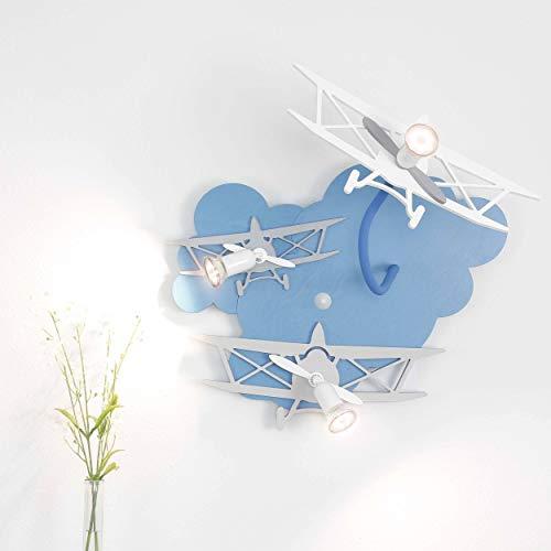 Kinderzimmer Lampe blau 3-flammig GU10 bis 35W 230V Holz Kunststoff Holzlampe Lampe Flugzeug Leuchte Kinder Kinderzimmerlampe blau Kinderleuchten Wandleuchte Jungen