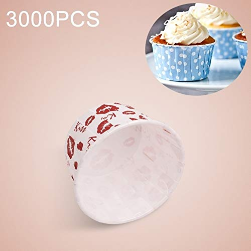 Amazing Deal KANEED Kitchen DIY Tools 3000 PCS Red Lips Pattern Round Lamination Cake Cup Muffin Cas...