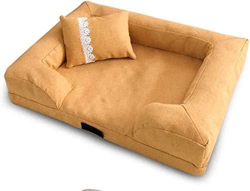 YLCJ Comfortabele slaapbank voor huisdieren Deluxe, Nest voor huisdieren voor alle seizoenen met afneembare hoes Ademende en ademende hondenmand (Kleur: groen, Afmetingen: M (65x50 cm)), L(85x60cm), Geel