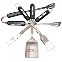 officially licensed product 4 piece bbq set includes spatula, fork, brush, tongs team logo on the handles of each tool team logo laser etched into spatula blade stainless steel