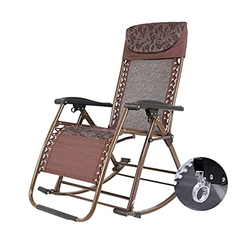 LIXIONG-sillón Mecedora, Plegable Interior Metal Marco Balancín Sillas, Exterior Porche Jardín Césped Plataforma Reclinable Tumbona, 3 Colores (Color : B, Size : 110x86x50cm)