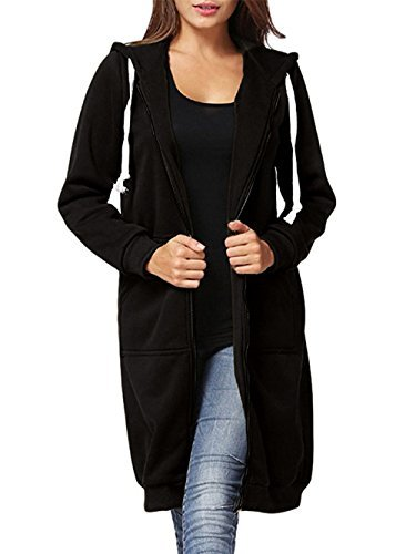 Dongpai Women's Casual Zip Up Hoodie Solid Long Jacket Sweatshirt Outerwear Plus Size,XX-Large,Black