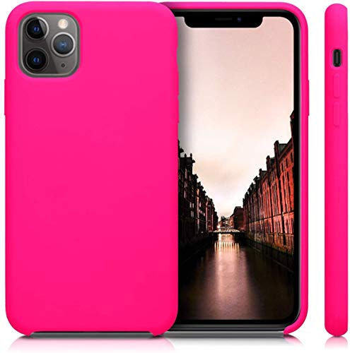 Funda de Silicona Silicone Case para iPhone 11 Pro MAX, Tacto Sedoso Suave, Carcasa Anti Golpes Duradera y Resistente, Bumper, Forro de Microfibra (Fucsia)