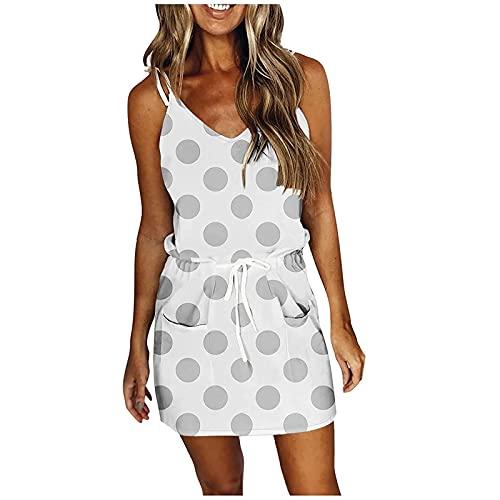 AMhomely Vestido de mujer Venta Promoción Liquidación Señoras Casual V-cuello sin mangas Vendaje Wave Point Printing Loose Sling Dress UK Size Party Elegante vestido