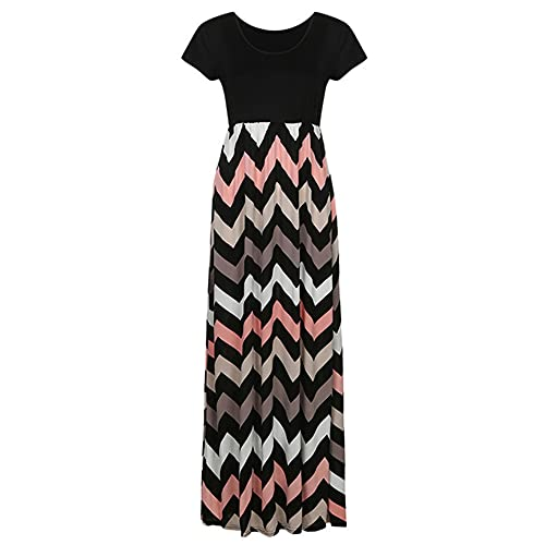 N\P Women Summer Casual Dress Retro Floral Print Neck Short Sleeves Grey