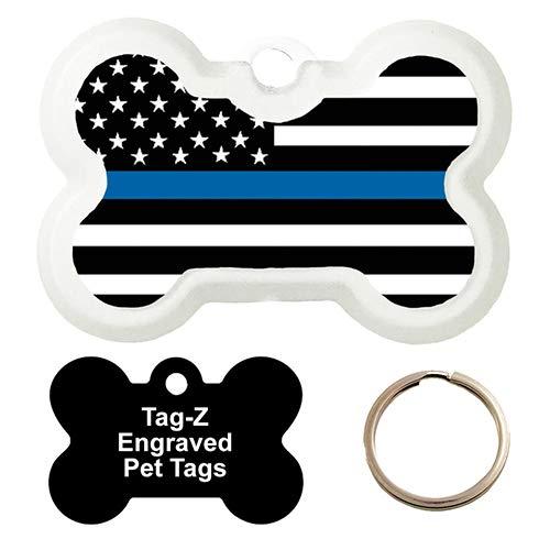 BLUE LINE FLAG - CUSTOMIZED - PET TAG - BONE SHAPE - TAG-Z DOG TAGS