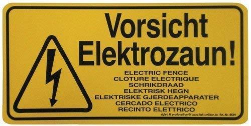 Warnschild - Vorsicht Elektrozaun - Gr. ca. 25x12,5cm - 308549