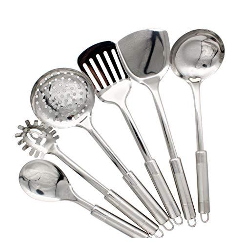 Abcsea 6 Pièces Accessoires Set de Cuisine, Cuillères de Cuisine, Spatules Cuisine INOX, Ustensiles de Cuisine INOX, Gadgets de Cuisine