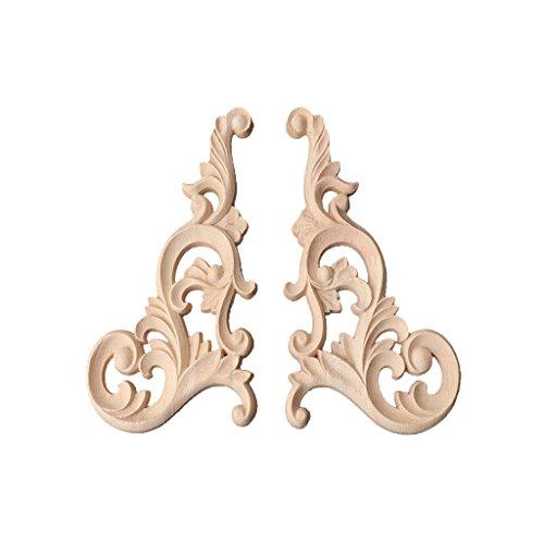 Angelliu - 1 par de madera esculpida sin pintar, estilo vintage, madera esculpida en esquina, aplique de madera de roble esculpido para decoración de recepción
